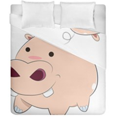Happy Cartoon Baby Hippo Duvet Cover Double Side (california King Size) by Catifornia