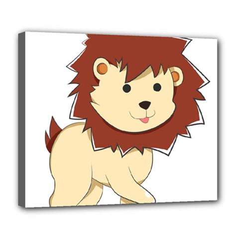 Happy Cartoon Baby Lion Deluxe Canvas 24  X 20   by Catifornia