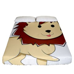 Happy Cartoon Baby Lion Fitted Sheet (queen Size) by Catifornia