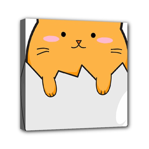 Yellow Cat Egg Mini Canvas 6  X 6  by Catifornia