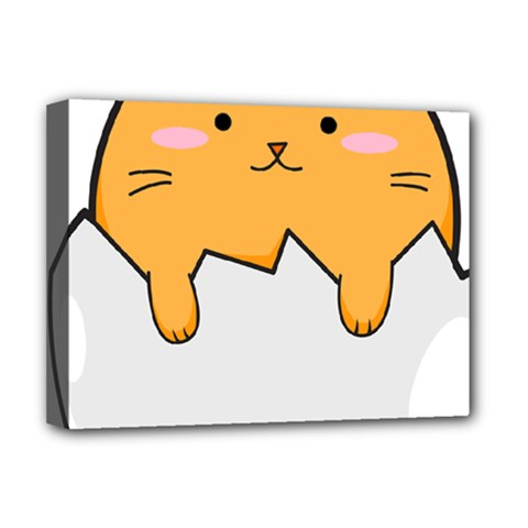 Yellow Cat Egg Deluxe Canvas 16  X 12   by Catifornia