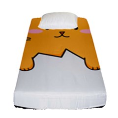 Yellow Cat Egg Fitted Sheet (single Size) by Catifornia