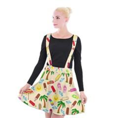 Beach Pattern Suspender Skater Skirt by Valentinaart