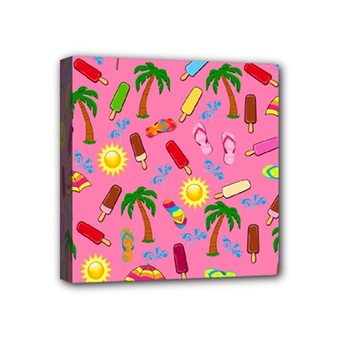 Beach Pattern Mini Canvas 4  X 4  by Valentinaart