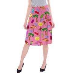 Beach Pattern Midi Beach Skirt by Valentinaart