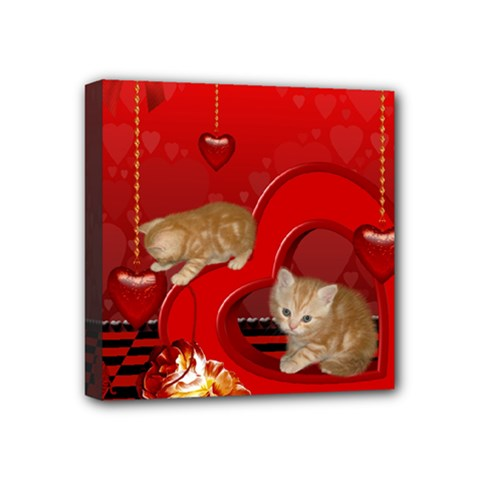 Cute, Playing Kitten With Hearts Mini Canvas 4  X 4  by FantasyWorld7