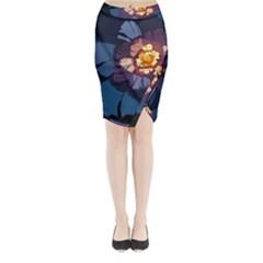 Flower Midi Wrap Pencil Skirt by oddzodd