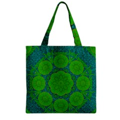 Summer And Festive Touch Of Peace And Fantasy Zipper Grocery Tote Bag by pepitasart