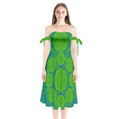 Summer And Festive Touch Of Peace And Fantasy Shoulder Tie Bardot Midi Dress by pepitasart