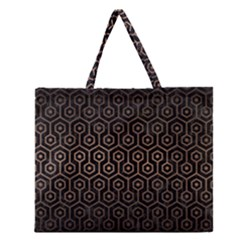 Hexagon1 Black Marble & Bronze Metal Zipper Large Tote Bag by trendistuff