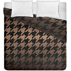 Houndstooth1 Black Marble & Bronze Metal Duvet Cover Double Side (king Size) by trendistuff