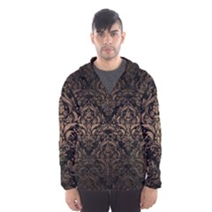 Damask1 Black Marble & Bronze Metal Hooded Wind Breaker (men) by trendistuff