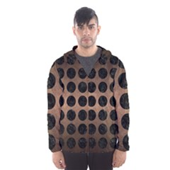Circles1 Black Marble & Bronze Metal (r) Hooded Wind Breaker (men) by trendistuff