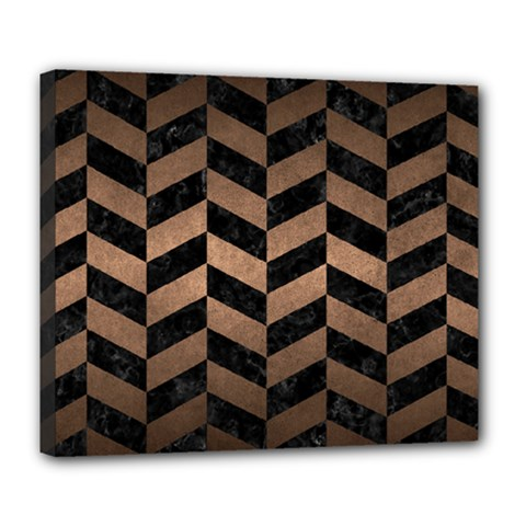 Chevron1 Black Marble & Bronze Metal Deluxe Canvas 24  X 20  (stretched) by trendistuff