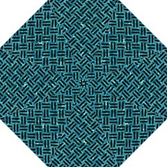 Woven2 Black Marble & Blue Green Water (r) Hook Handle Umbrella (large) by trendistuff