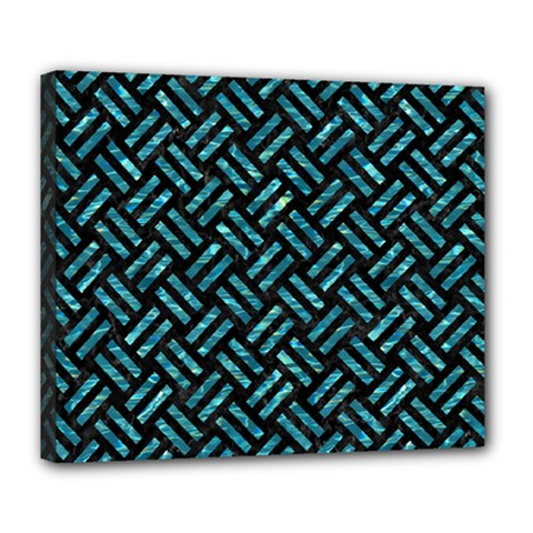 Woven2 Black Marble & Blue Green Water Deluxe Canvas 24  X 20  (stretched) by trendistuff