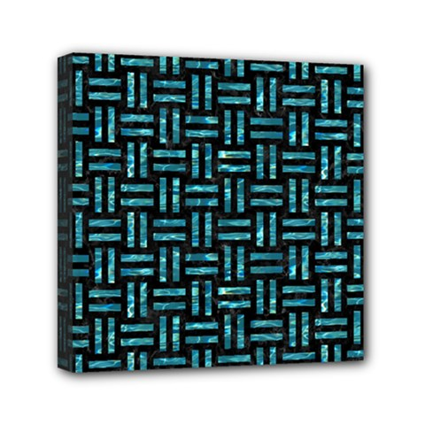 Woven1 Black Marble & Blue Green Water Mini Canvas 6  X 6  (stretched) by trendistuff