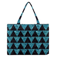 Triangle2 Black Marble & Blue Green Water Medium Zipper Tote Bag by trendistuff