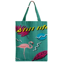 Behance Feelings Beauty Flamingo Bird Still Life Leaf Green Pink Red Zipper Classic Tote Bag by Mariart
