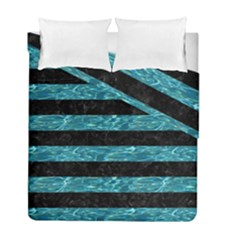 Stripes2 Black Marble & Blue Green Water Duvet Cover Double Side (full/ Double Size) by trendistuff