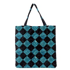 Square2 Black Marble & Blue Green Water Grocery Tote Bag by trendistuff