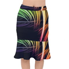 Colorful Abstract Fantasy Modern Green Gold Purple Light Black Line Mermaid Skirt by Mariart