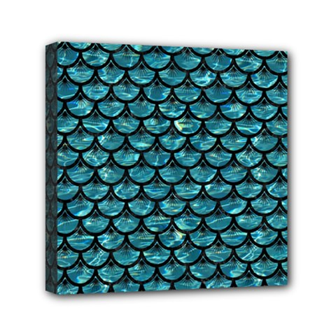 Scales3 Black Marble & Blue Green Water (r) Mini Canvas 6  X 6  (stretched) by trendistuff