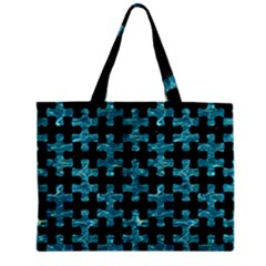 Puzzle1 Black Marble & Blue Green Water Zipper Mini Tote Bag by trendistuff