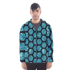 Hexagon2 Black Marble & Blue Green Water (r) Hooded Wind Breaker (men) by trendistuff