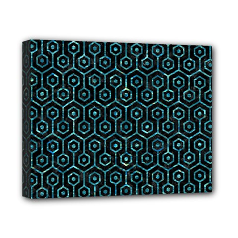 Hexagon1 Black Marble & Blue Green Water Canvas 10  X 8  (stretched) by trendistuff