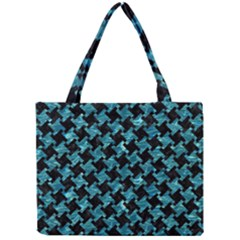 Houndstooth2 Black Marble & Blue Green Water Mini Tote Bag by trendistuff
