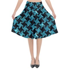 Houndstooth2 Black Marble & Blue Green Water Flared Midi Skirt by trendistuff