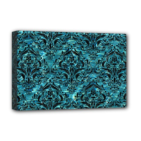 Damask1 Black Marble & Blue Green Water (r) Deluxe Canvas 18  X 12  (stretched) by trendistuff