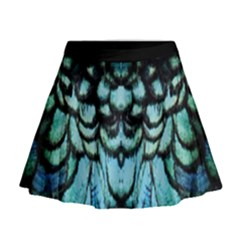 Blue And Green Feather Collier Mini Flare Skirt by UnicornFashion