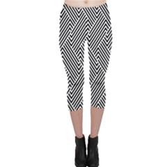 Escher Striped Black And White Plain Vinyl Capri Leggings  by Mariart