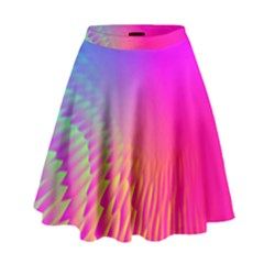 Light Aurora Pink Purple Gold High Waist Skirt by Mariart