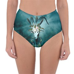 The Billy Goat  Skull With Feathers And Flowers Reversible High Waist Bikini Bottoms