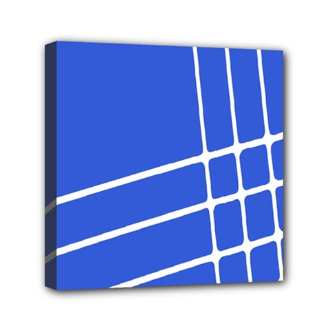 Line Stripes Blue Mini Canvas 6  X 6  by Mariart