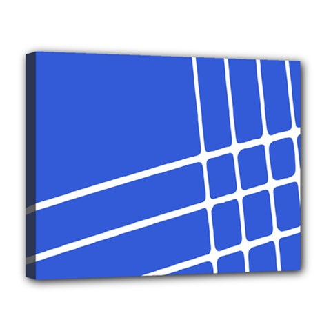 Line Stripes Blue Canvas 14  X 11  by Mariart