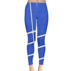Line Stripes Blue Leggings  by Mariart