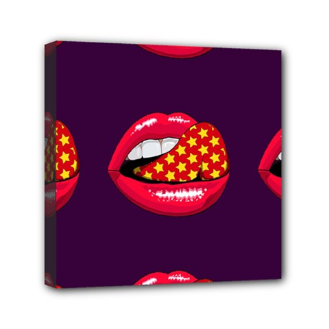Lip Vector Hipster Example Image Star Sexy Purple Red Mini Canvas 6  X 6  by Mariart