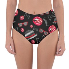 Lip Hat Vector Hipster Example Image Star Sexy Black Red Reversible High Waist Bikini Bottoms