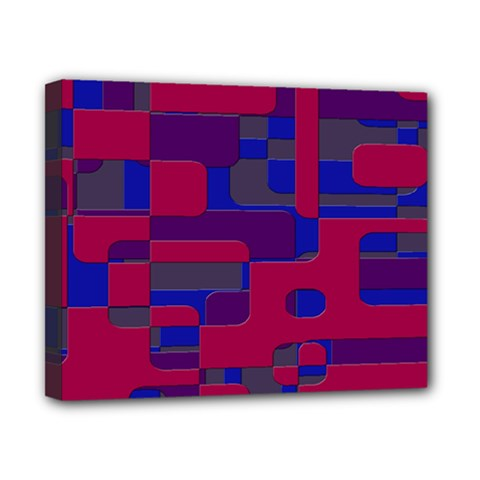 Offset Puzzle Rounded Graphic Squares In A Red And Blue Colour Set Canvas 10  X 8  by Mariart