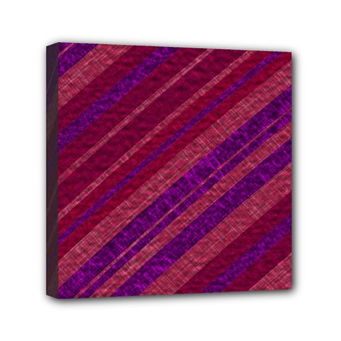Maroon Striped Texture Mini Canvas 6  X 6  by Mariart