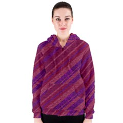 Maroon Striped Texture Women s Zipper Hoodie by Mariart