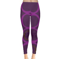 Original Circle Purple Brown Leggings  by Mariart