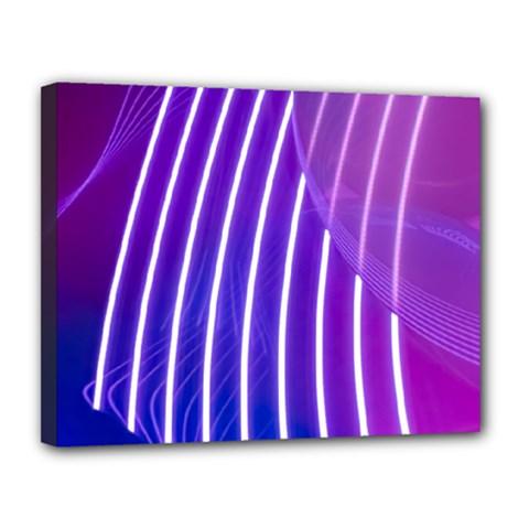 Rays Light Chevron Blue Purple Line Light Canvas 14  X 11  by Mariart