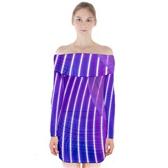 Rays Light Chevron Blue Purple Line Light Long Sleeve Off Shoulder Dress by Mariart