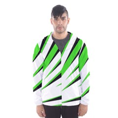 Rays Light Chevron White Green Black Hooded Wind Breaker (men) by Mariart