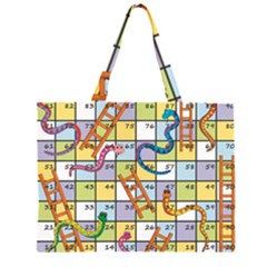 Snakes Ladders Game Board Zipper Large Tote Bag by Mariart